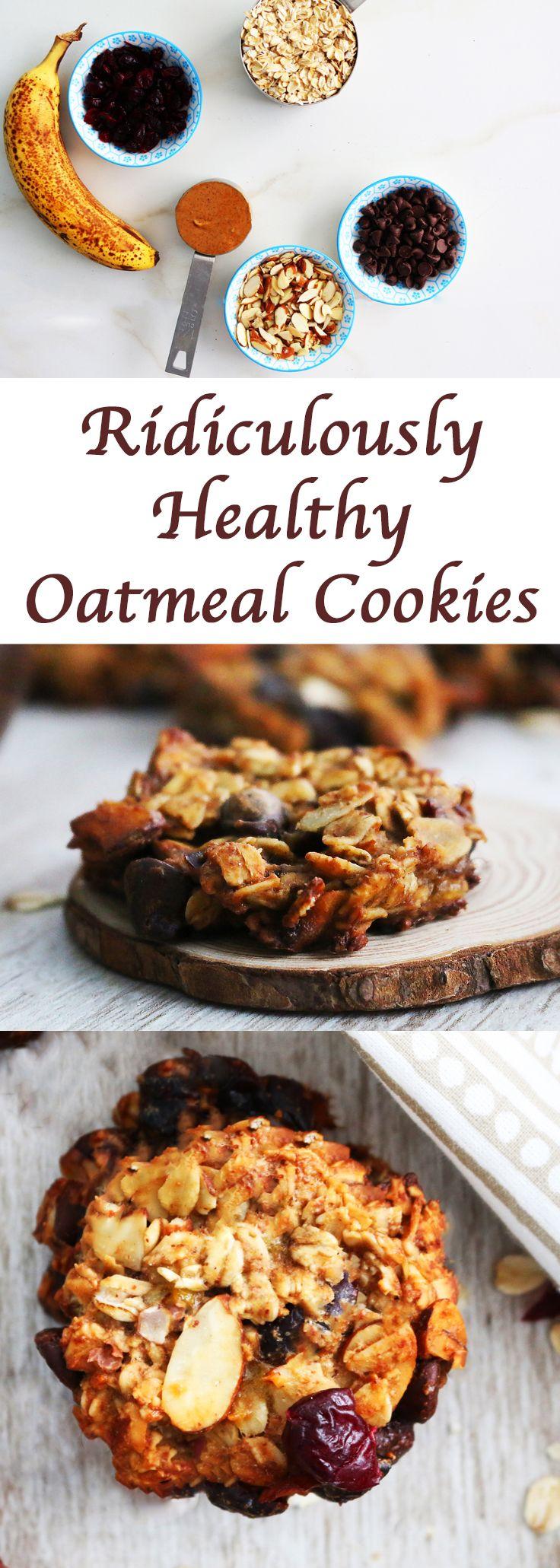 #snack #healthysnack #cookie #cookies #healthycookie #helathycookies #oatmeal #oatmealcookies #healthyoatcookies #easyrecipes #easysnack #easybreakfast #breakfast #breakfastcookies #recipes http://www.kitchenathoskins.com/2017/03/28/ridiculously-healthy-oatmeal-cookies/