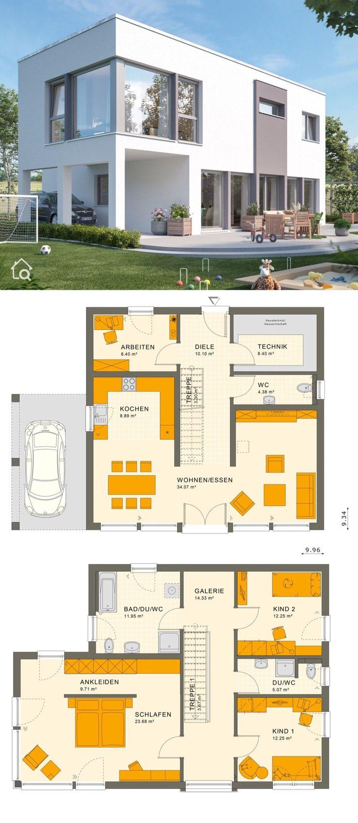 Einfamilienhaus modern mit Flachdach Architektur i…