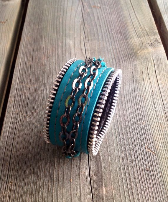 Turquoise Leather Motorcycle Chic Cuff with by HeartnSoulHandbags, $35.00