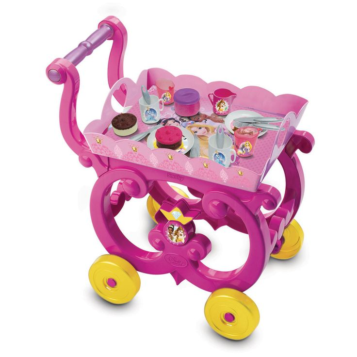 Het Smoby Disney Prinses serveerwagentje bevat alle servies en accessoires om met andere prinsessen thee te drinken. 16 accessoires inbegrepen: 2 glazen, 2 kopjes, 2 borden, 2 taartjes, 6x bestek, 1 suikerpot en 1 melkkan. Afmeting: 47,5 x 34,5 x 31 cm - Smoby Disney Prinses Serveerwagen