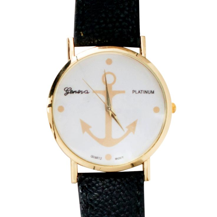 collections-by-h   Aztec watches   £16.00            Stylish Gold and Black Anchor Watch.  This vintage styled watch has a bold black strap with a stylish gold trim. A gorgeous gold anchor set within the face creates a stylish and stand out watch.