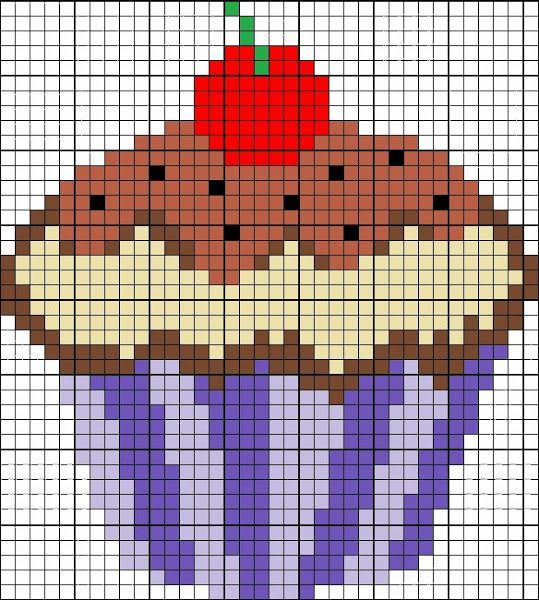 Patrones de cupcakes en punto de cruz  - Cupcake cross stitch patterns