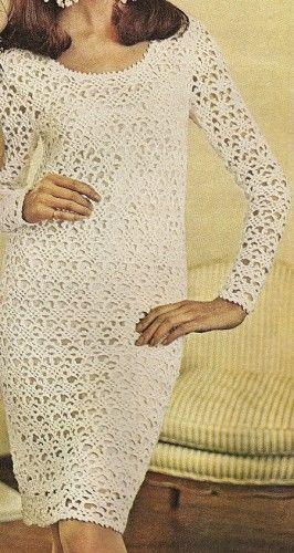 Misses Lace Dress Vintage 60s Crochet Pattern PDF W109