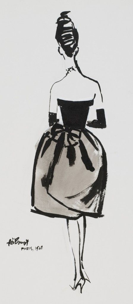 A dress by (Cristobal) Balenciaga dress, 1960. Illustration by Alfredo Bouret.
