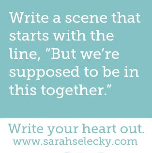 """prompt -- write a scene that starts with the line: """"but we're supposed to be in this together..."""""""