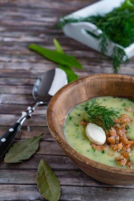Kartoffel-Bärlauch-Suppe mit Lachs-Tatar