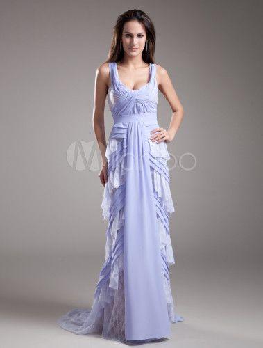 Vestido de fiesta de gasa de color lavanda de cola barrida - Milanoo.com