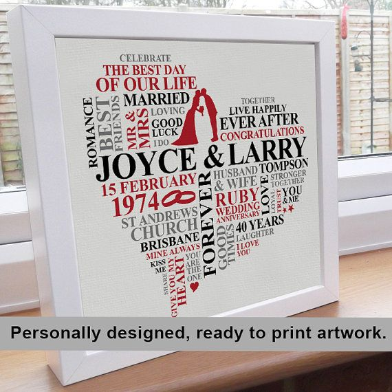 Printable File Ruby Anniversary Word Art. by AliChappellUK, £15.00 on etsy.com