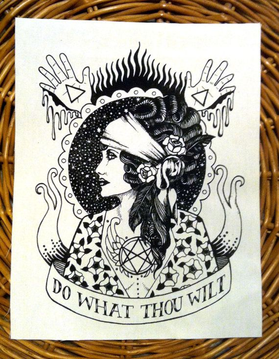 Do What Thou Wilt. BACK PATCH handmade screen printed, black on natural on Etsy, $12.00