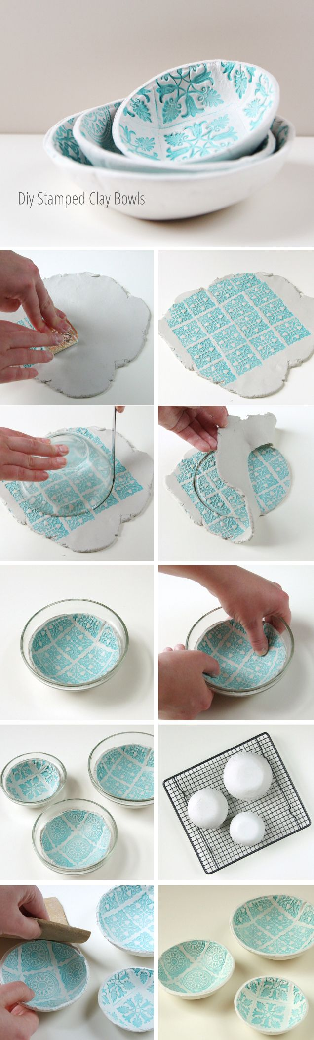 DIY stamped clay bowls. Izzy has so much air dry clay this would be fun to do!