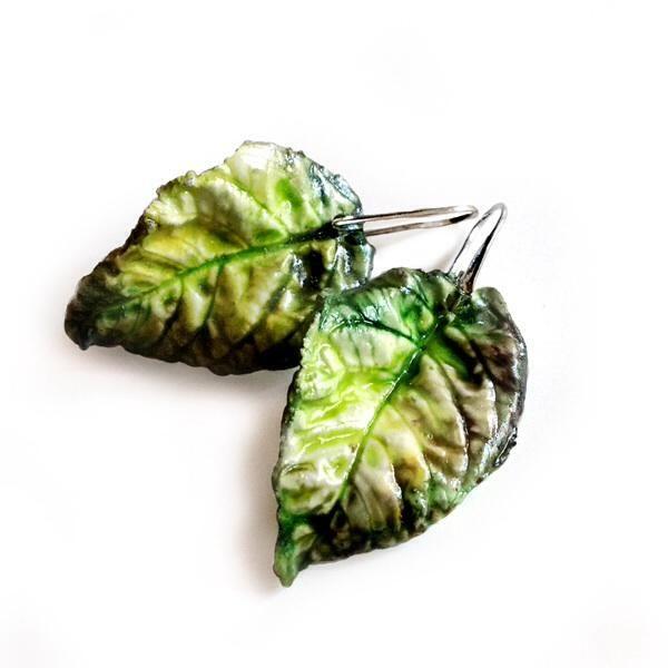 ROMANTİK+KOLEKSİYON+-+polymer+clay+yeşil+yaprak+küpe
