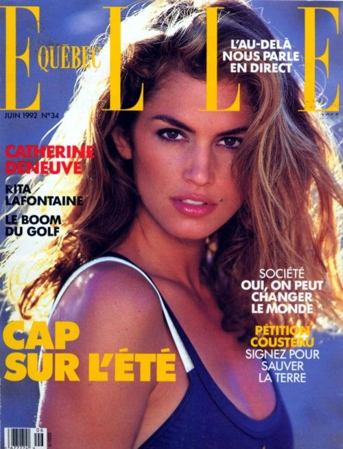 Elle Quebec, June 1992 Model : Cindy Crawford