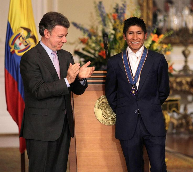 "The president of Colombia greets Nairo Quintana. See more Nairo in my ""Colombian Cyclists"" board."