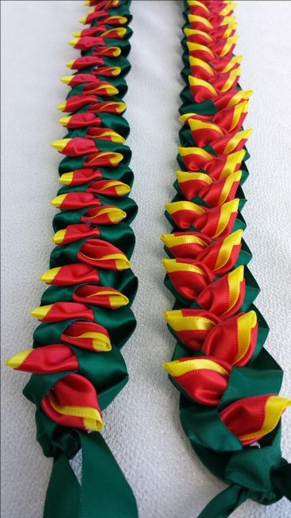 Heliconia flat hawaiian ribbon lei red and yellow …