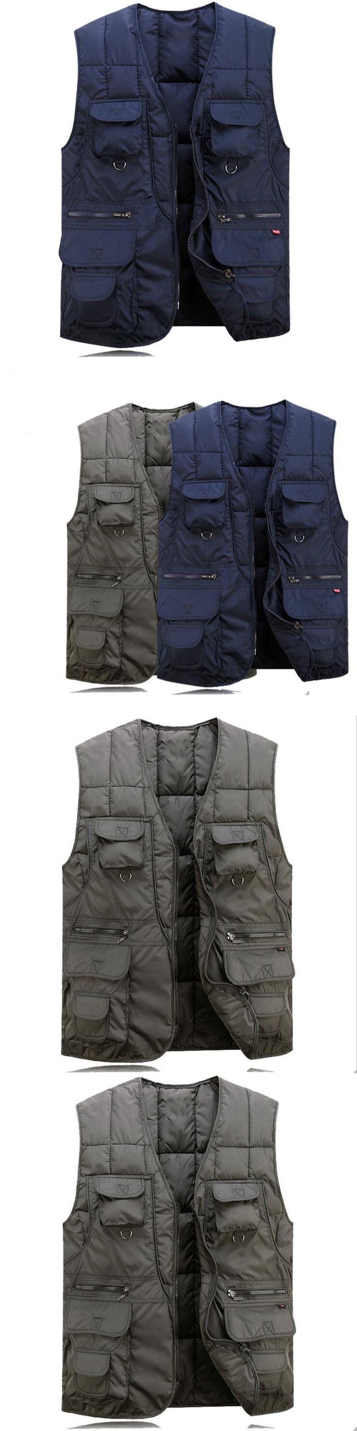 Men Vest Cotton Thicken Plus Size Outwear Coat Army Loose Man Waistcoat With Many Pockets Men'S Sleeveless Jacket And Coat A3530