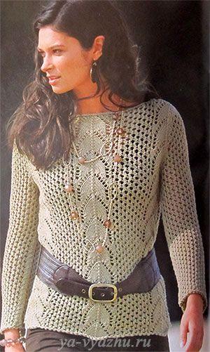 Сетчатый пуловер спицами с ажурными вставками. Обсуждение на LiveInternet - Российский Сервис Онлайн-Дневников