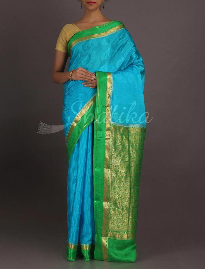 Yamini Swaying Leaf Motifs Ornate Pallu Pure #MysoreSilkSaree