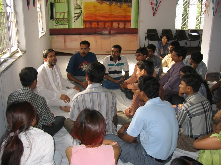 Talking with students in India