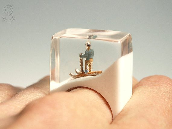 Ski bunny sporty ski figure ring with a by GeschmeideUnterTeck