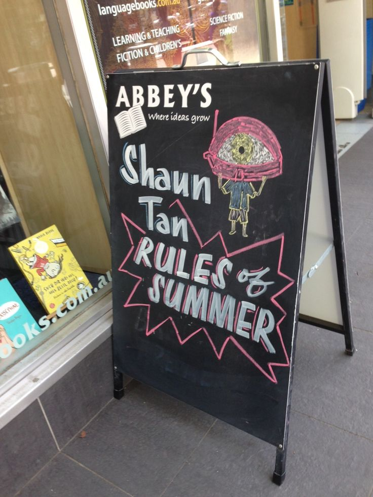 We're loving this Rules of Summer sandwich board over at Abbey's Bookstore!