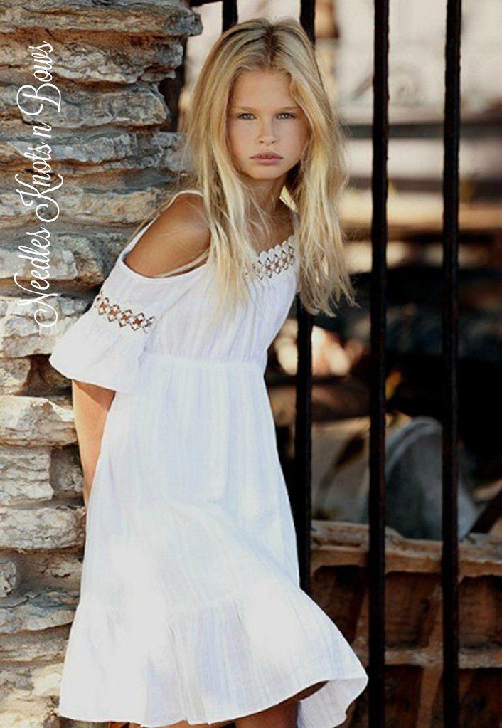 7dc5b2c9518 Girls White Cold Shoulder Bohemian Flower Girls Dress