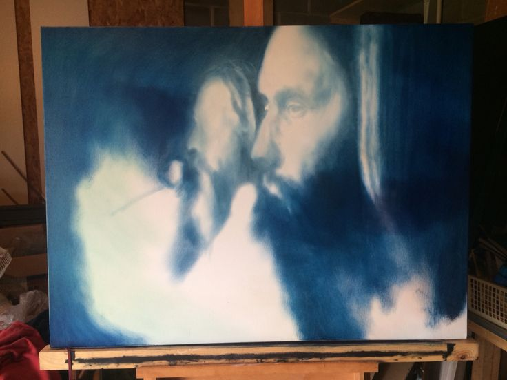 Work in progress. Gary and Jack from Reef. Oil on canvas
