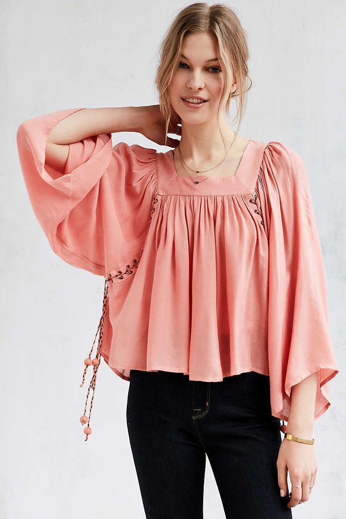626f17d684464f Kimchi Blue Mayla Lace-up Peach Blouse Top M in 2019 | Products ...