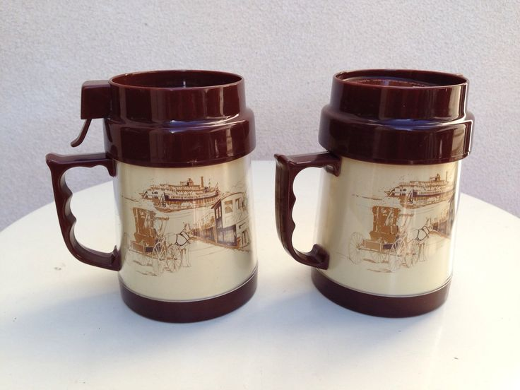 A personal favorite from my Etsy shop https://www.etsy.com/listing/269264543/vintage-thermo-mugs-transport-theme-with