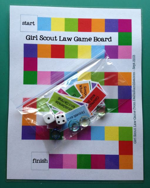 Learn the Girl Scout Law Game Free Printable -- http://www.dianarambles.com/2013/09/girl-scout-law-game-free-printable.html?m=1