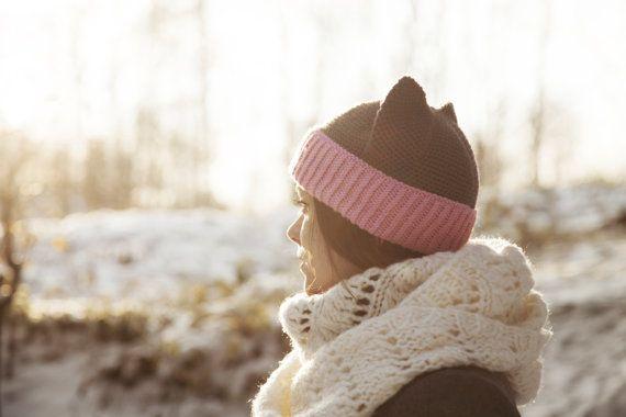 Grey Cat Hat with Ears Crochet Animal Hat Knit Hat by OneHatStore
