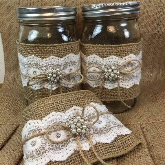 10 PINT Jar Wraps Burlap and Lace Mason jar by ElianasTreasures