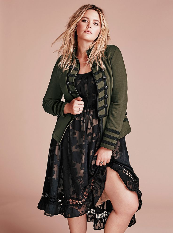 Torrid: Shop The Look | Fall In Line - Look 5. Knit Zip Front Military Jacket and Burnout Floral Print Chiffon Hi-Lo Dress.