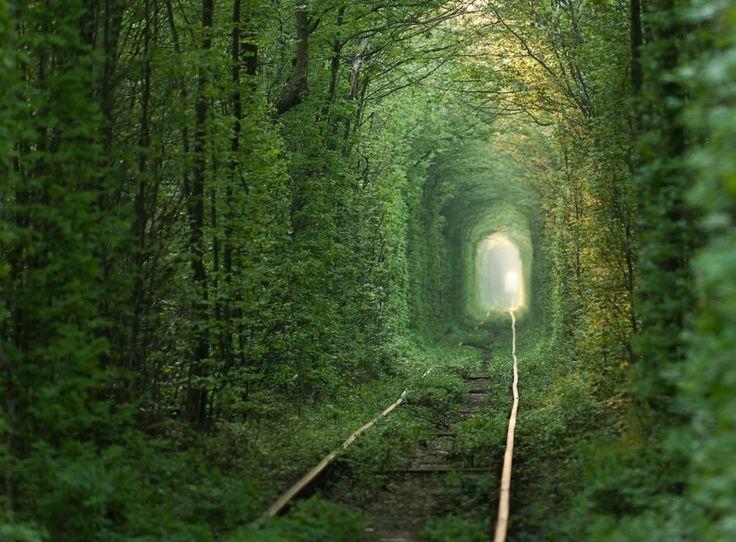 LOVE TUNNEL (TUNELUL DRAGOSTEI), KLEVEN, UCRAINA SI ROMANIA. Acest tunel superb si lung, invaluit in frunze multe si verzi arata ca un vis sau ca o imagine dintr-un film, insa acest loc chiar exista si poate fi descoperit adanc in padurile din Ucraina. Exista si in Romania un astfel de loc, situat pe calea ferata Caransebes-Bautar, intre localitatile Obreja si Glimboca.