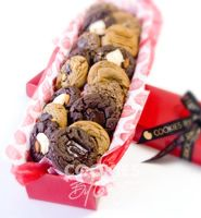 Flowers By George — 18 gourmet cookies gift wrapped in a Florist Box with a Cookies By George ribbon and gift tag.
