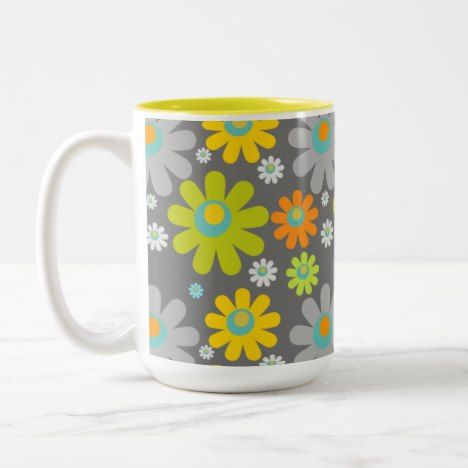 Boho Retro Grey/Gr/Yel/Org Daisies on Grey 15 oz Two-Tone Coffee Mug #coffee #mug #mugs #muglove #coffeetime #coffeemug #gifts #style #tea
