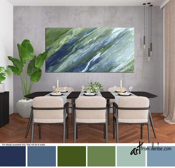 Large navy blue & green wall art canvas abstract print, Wide artwork for bedroom, dining living room pictures, or office decor, Olive sage