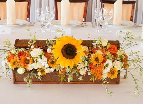 napraforgós asztaldísz dobozban - Amaltheia Manufaktúra virág és dekoráció
