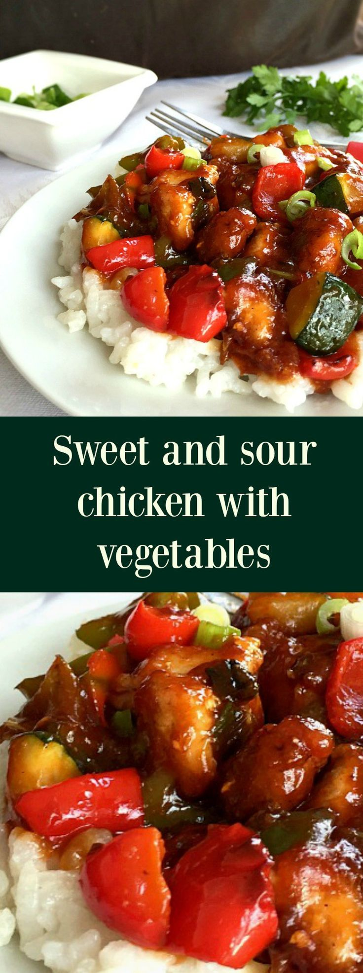 Sweet and sour chicken with peppers and courgettes, a ...