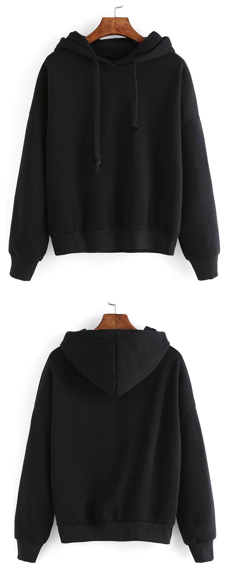 Black Hooded Long Sleeve Crop Sweatshirt - m.shein.com cute styles, fashion styles