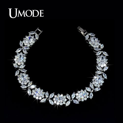 UMODE Bijoux Trendy White Gold Color Top Grade Multishaped AAA CZ  Tennis Bracelets For Women Luxury Jewelry AUB0023