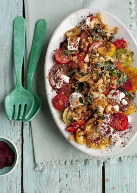 Warm potato, pepper and chorizo salad. Recipe by Bill Granger.