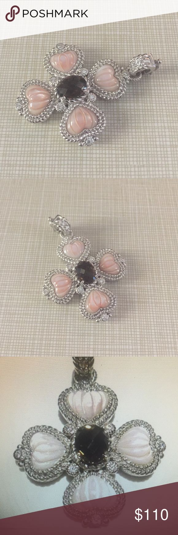 "2"" Judith Ripka silver925 pink mop smoky pendant This stunning enhancer pendant is from famous designer Judith Ripka  pink mother of pearl smoky Quartz with stamped 925 also her name is stamped simply gorgeous Judith ripka Jewelry"