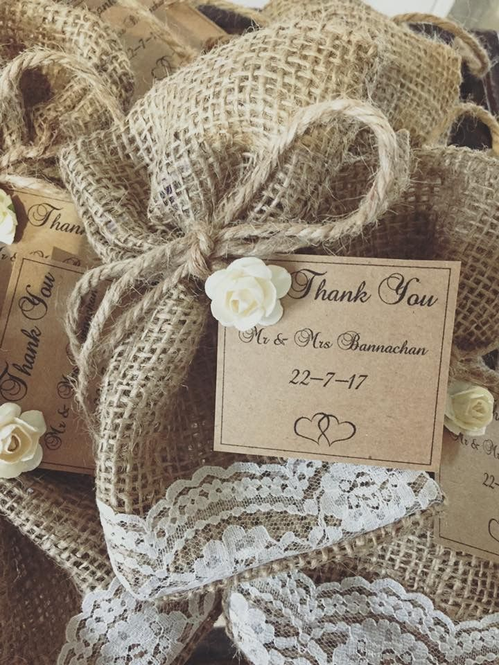 Handmade hessian lolly bags complete and personalised with your guest names