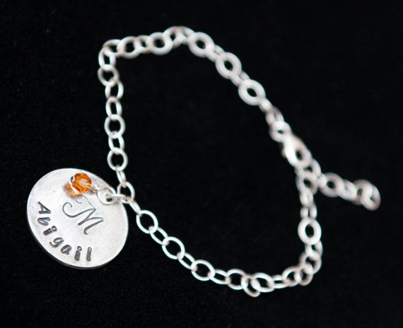 Silver Any Name with Initial on a Sterling Silver Bracelet - Get 10% OFF with coupon code PINIT when purchasing on Etsy