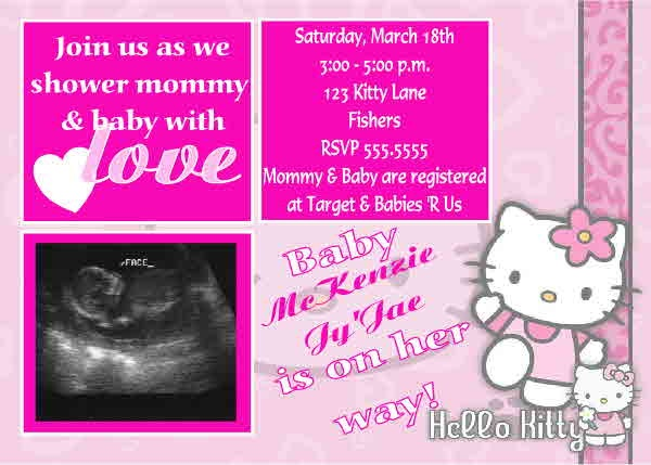 High Quality Hello Kitty Baby Baby Shower Decorations Baby Shower Invitations. Cameo ...