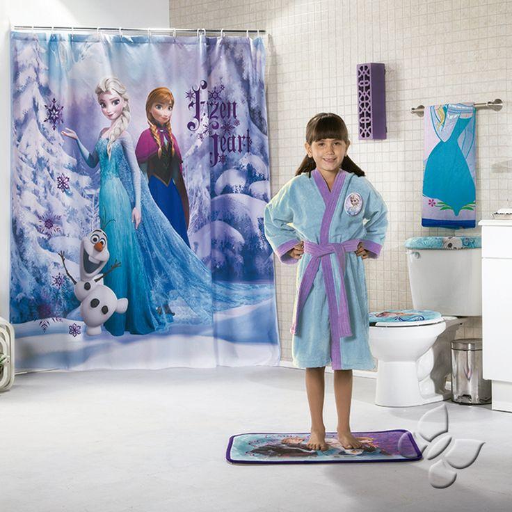 Cortina de baños Frozen ademas batas de la coleccion Intima Hogar visita www.intimausa.com