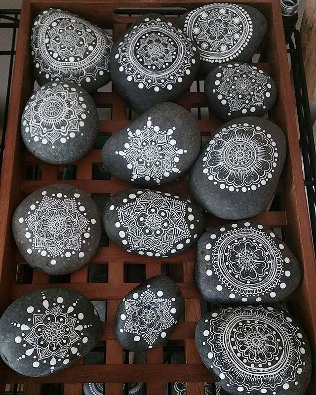 #mandala #mandalas #rocks #stones #art #paintedpebbles #paintedstones