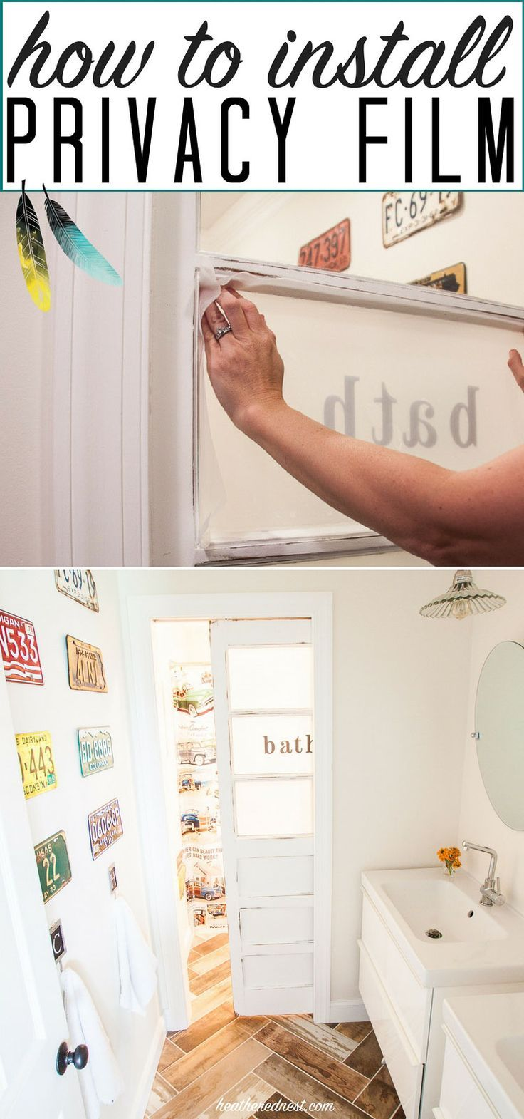 how to install privacy film an easy DIY tutorial from http://heatherednest.com. Cost effective, popular way to get privacy glass for your bathroom doors and windows! Great idea!!!