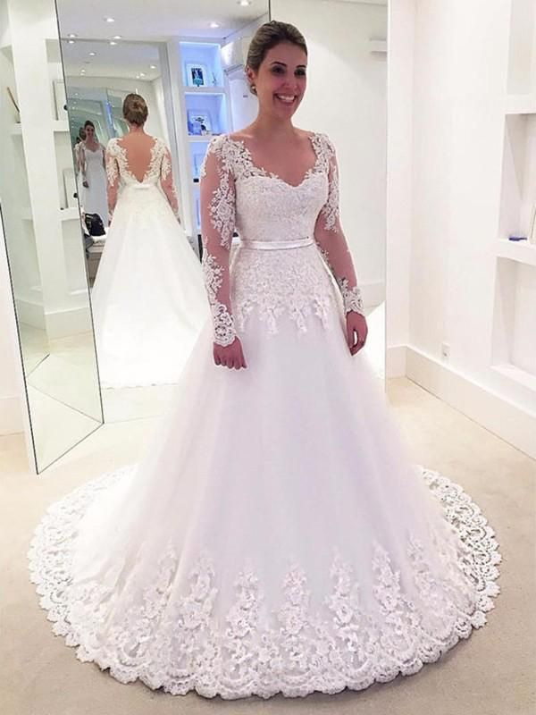 2ff0199450997 A-Line/Princess V-neck Applique Lace Long Sleeves Tulle Sweep/Brush Train  Wedding Dresses