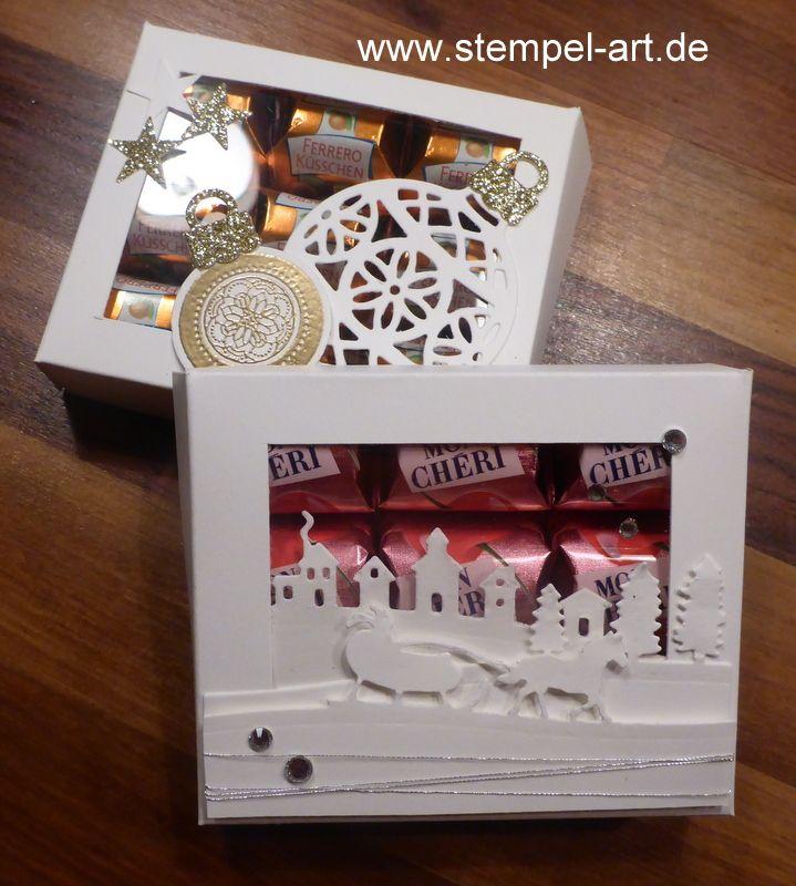 Stampin up Mon Cheri Verpackung nach StempelART, Flockenzauber, Schlittenfahrt, Weihnachtliche Worte, Am Christbaum, bebilderte Anleitung, Tutorial